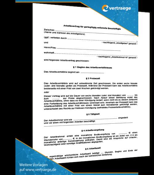 Einfamilienhausmietvertrag Mietvertrag Von Haus Grund: Muster-Arbeitsvertrag Für Geringfügige Beschäftigungen