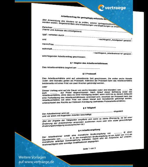 muster arbeitsvertrag minijob - Arbeitsvertrag Minijob Muster