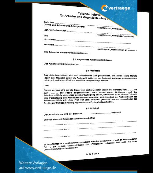 Muster Arbeitsvertrag Teilzeit Vertraegede