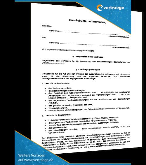 Muster Subunternehmervertrag Bau Vertraegede