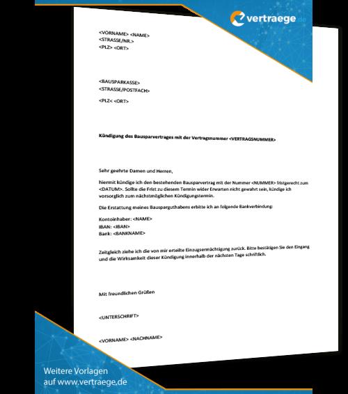 musterkndigung bausparvertrag - Kundigung Bausparvertrag Muster