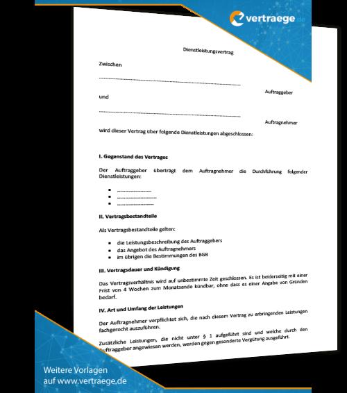 Vereinbarung Muster Dienstleistung