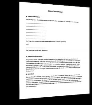 muster knstlervertrag - Muster Geschaftsfuhrervertrag